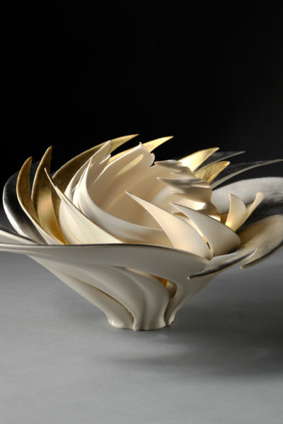 porcelain with platinum and gold leaf