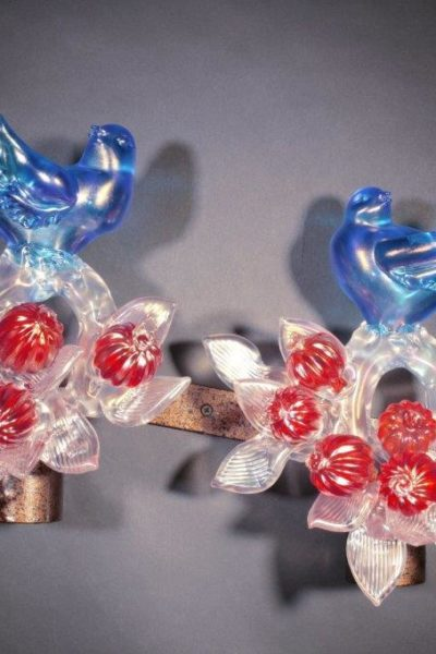 Iridescent Aqua Birds with Crystal Branches and Red Pomegranates