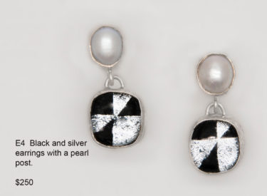 E4 Black & Silver Earring