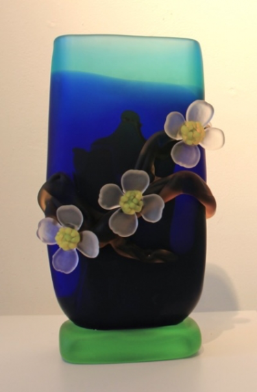 Large Multi-Color Dogwood Vase