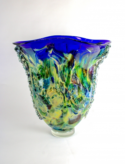 Tall Blue-Rimmed Vessel
