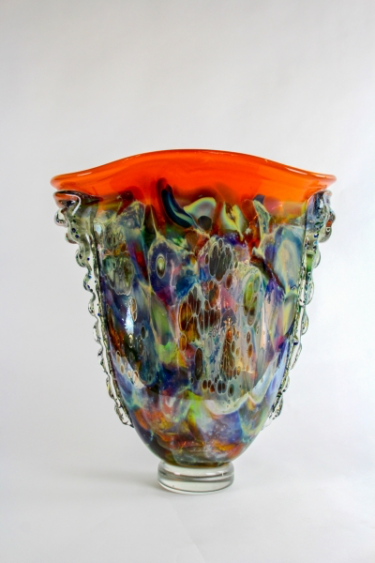 Tall Orange-Rimmed Vessel