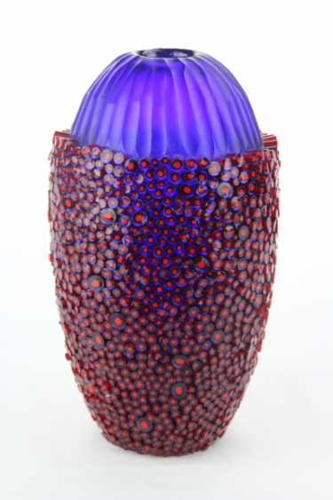 Blue Vase with Red Murrine