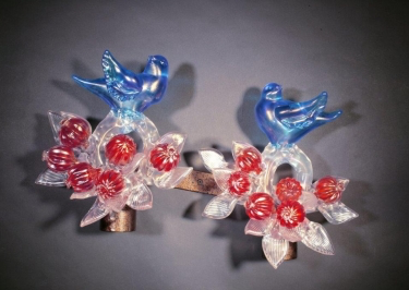 Iridescent Aqua Birds with Crystal Branches